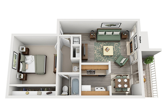 Falls at Clear Lake Apartments - Floorplan - One Bed One Bath