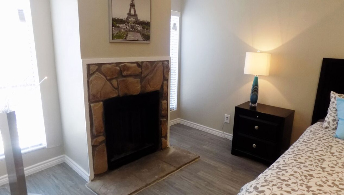 Fireplace at Falls at Clear Lake Apartments in Webster, TX