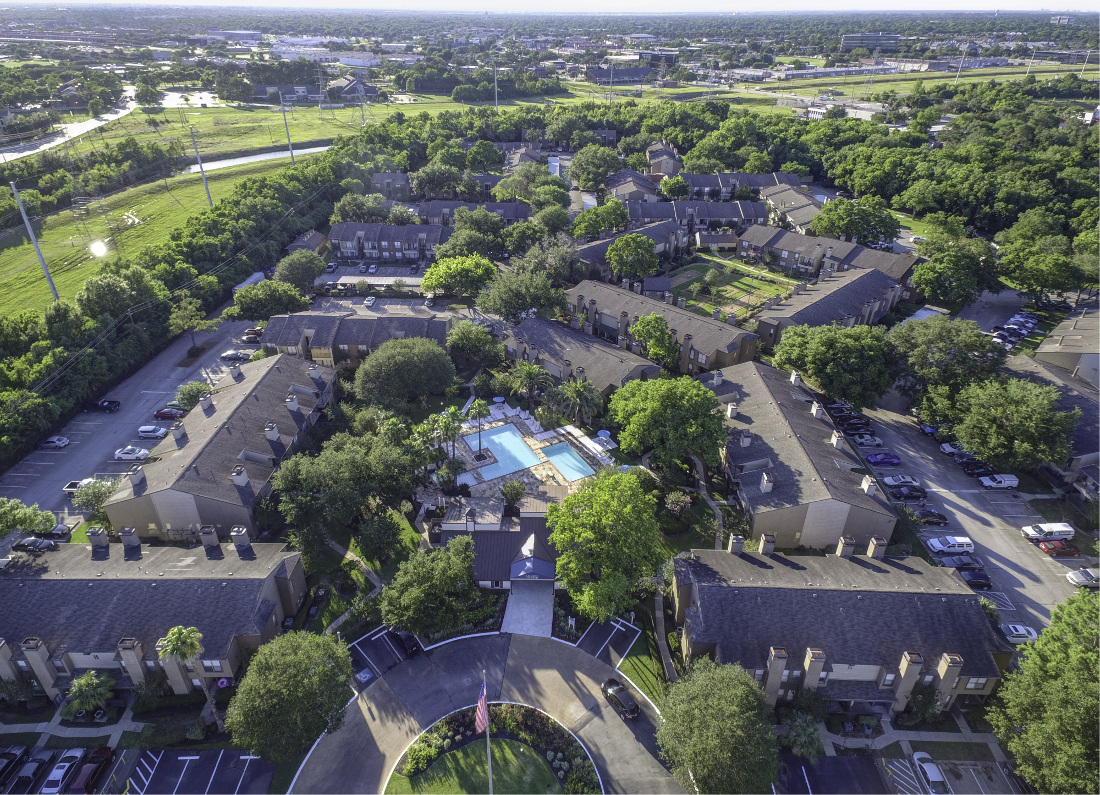 Exterior Aerial View at Falls at Clear Lake Apartments in Webster, TX