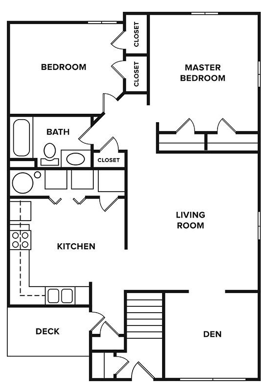 Floorplan - 2 Bedroom + Den, 1 Bathroom image