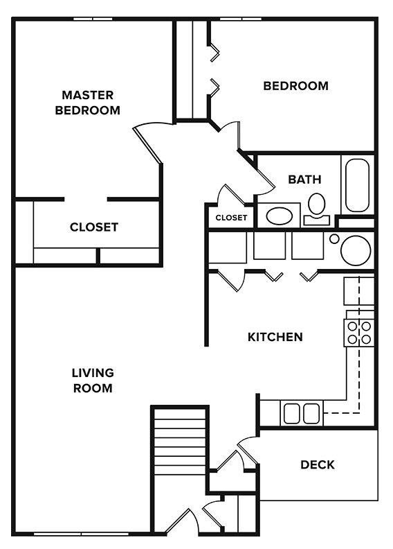 Floorplan - 2 Bedroom, 1 Bathroom image