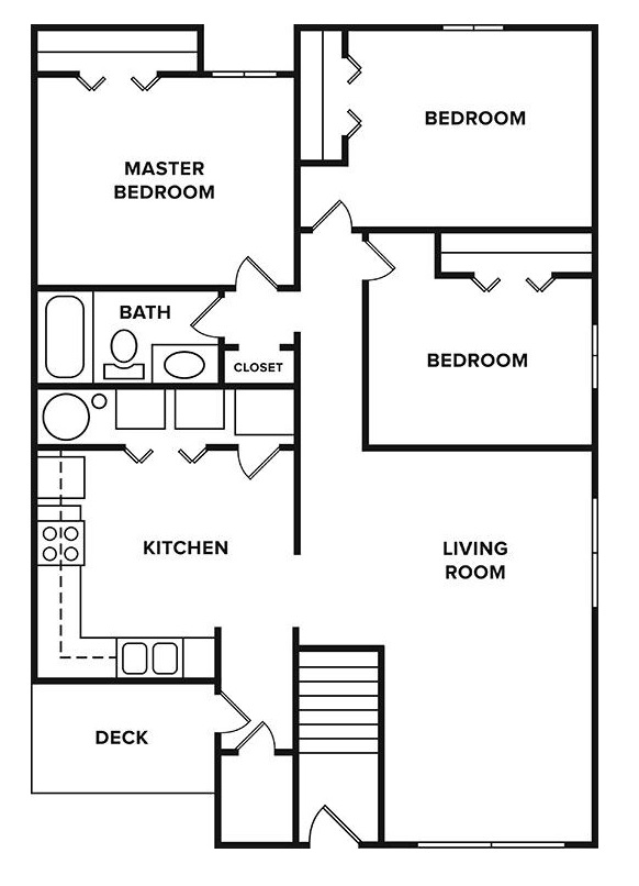Floorplan - 3 Bedroom, 1 Bathroom image