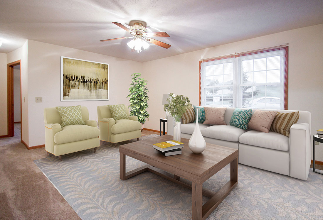 Spacious Living Rooms at Fieldstone Place Apartments in Lincoln, NE