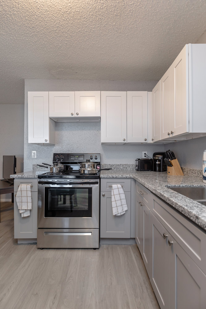 Kitchen View at The Five Points at Texas Apartments in Texas City, Texas