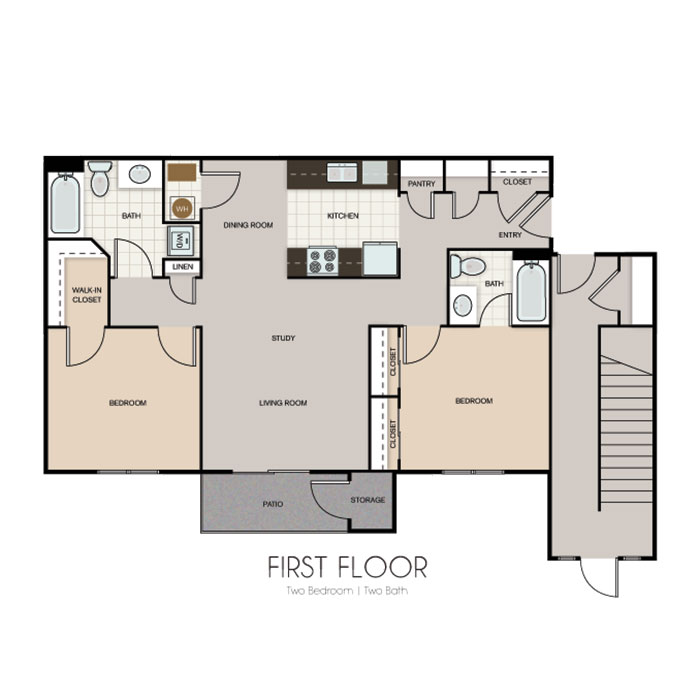 Flatwater Apartments - Floorplan - 2BED 2BATH