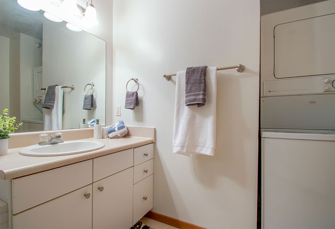 Spacious Bathrooms with Laundry Area at Flatwater Apartments in La Vista, Nebraska