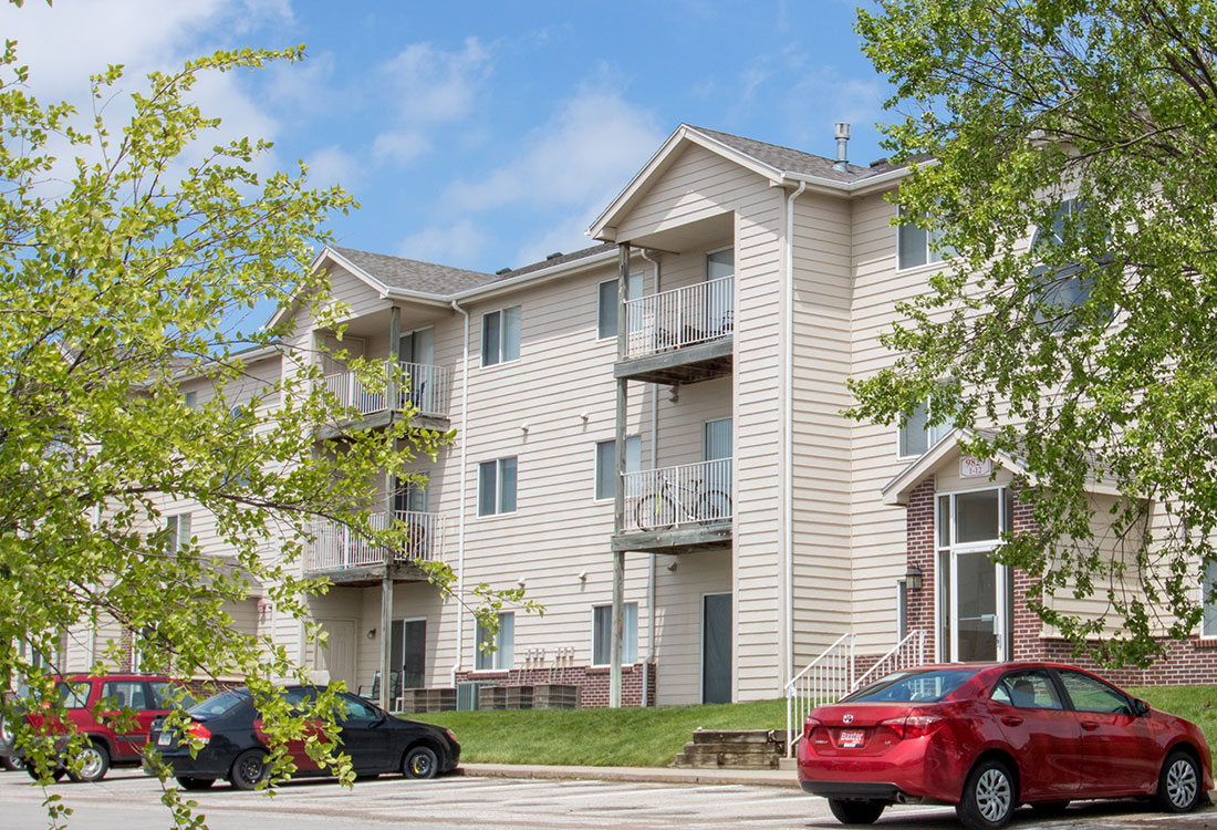Apartment Homes with Private Balconies with Storage at Flatwater Apartments in La Vista, Nebraska