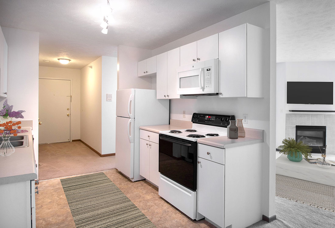 White Appliances at Flatwater Apartments in La Vista, Nebraska