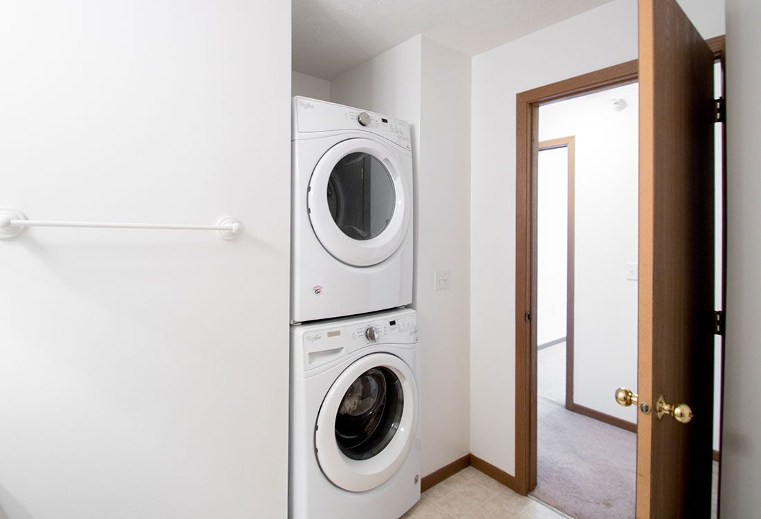 Stacked Washer and Dryer at Flatwater Apartments in La Vista, Nebraska