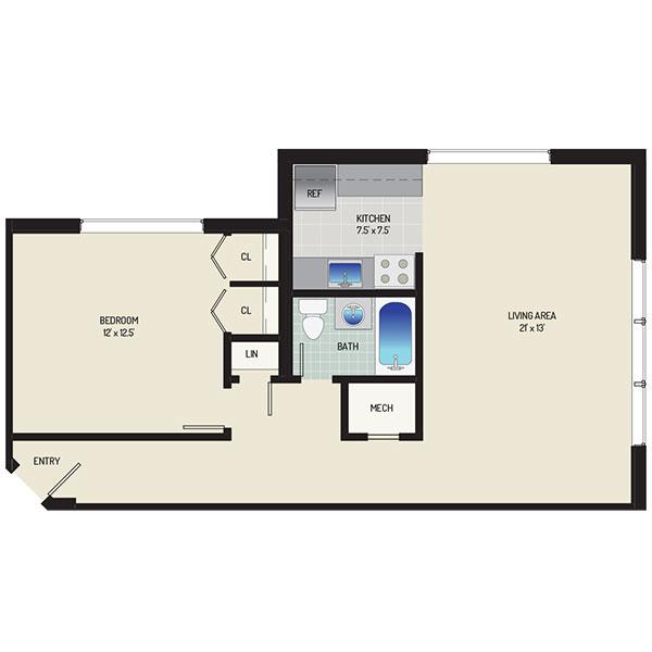 Flower Branch Apartments - Floorplan - 1 Bedroom + 1 Bath