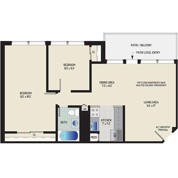 Flower Branch Apartments - Floorplan - 2 Bedrooms + 1 Bath