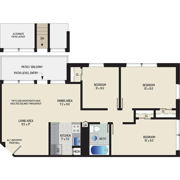 Flower Branch Apartments - Floorplan - 3 Bedrooms + 1 Bath
