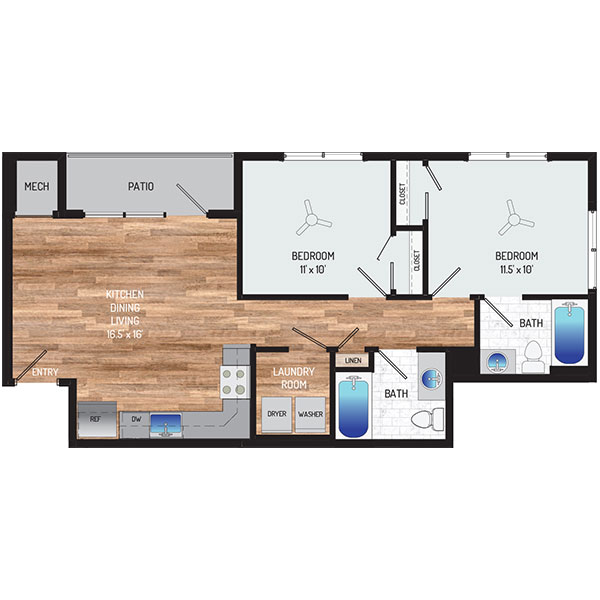 Flower Branch Apartments - Floorplan - 2 Bedrooms + 2 Baths
