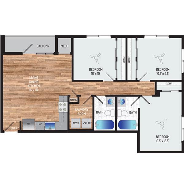 Flower Branch Apartments - Floorplan - 3 Bedrooms + 2 Baths