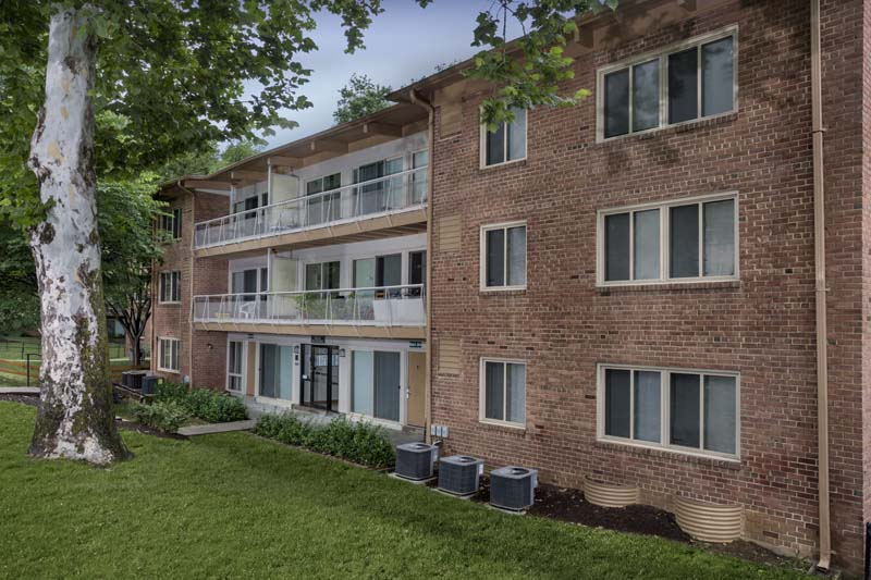 Covered balconies and patios at Flower Branch Apartments in Silver Spring, MD