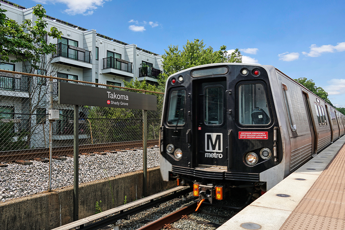 Takoma Metro station is 8 minutes from Flower Branch Apartments in Silver Spring, MD