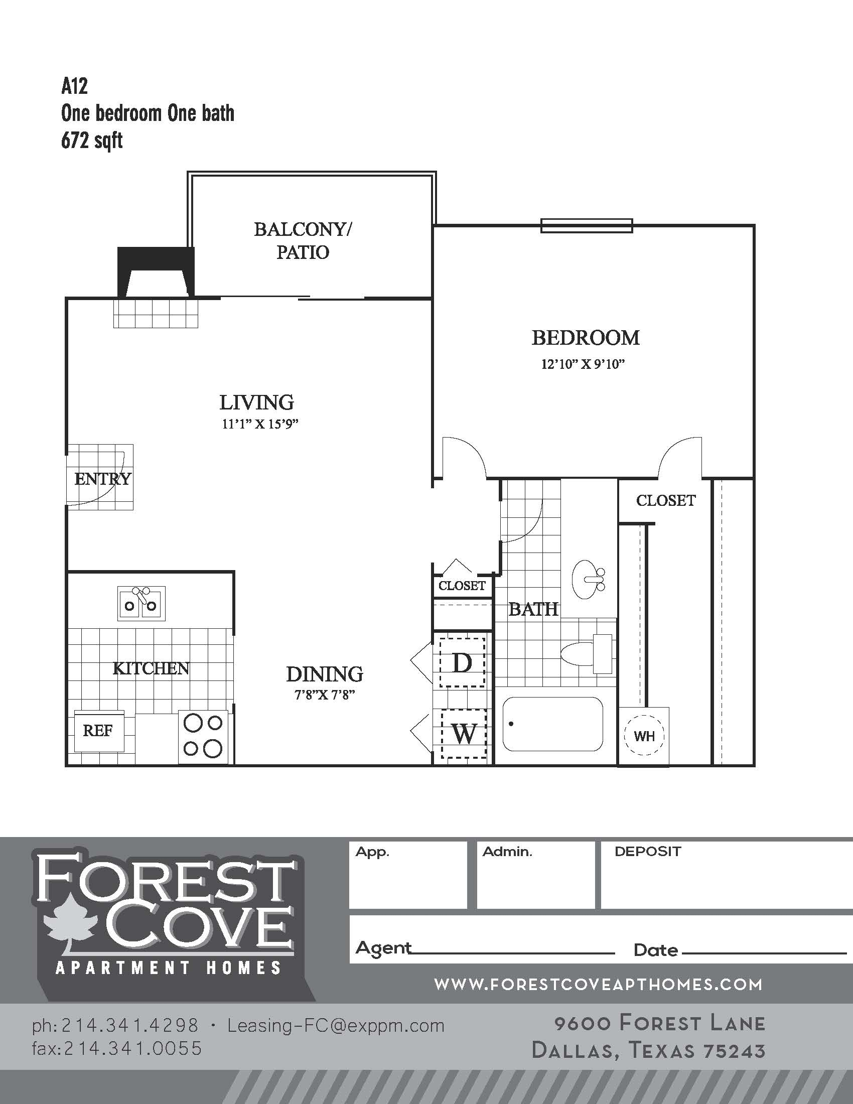 Forest Cove Apartments - Floorplan - A12