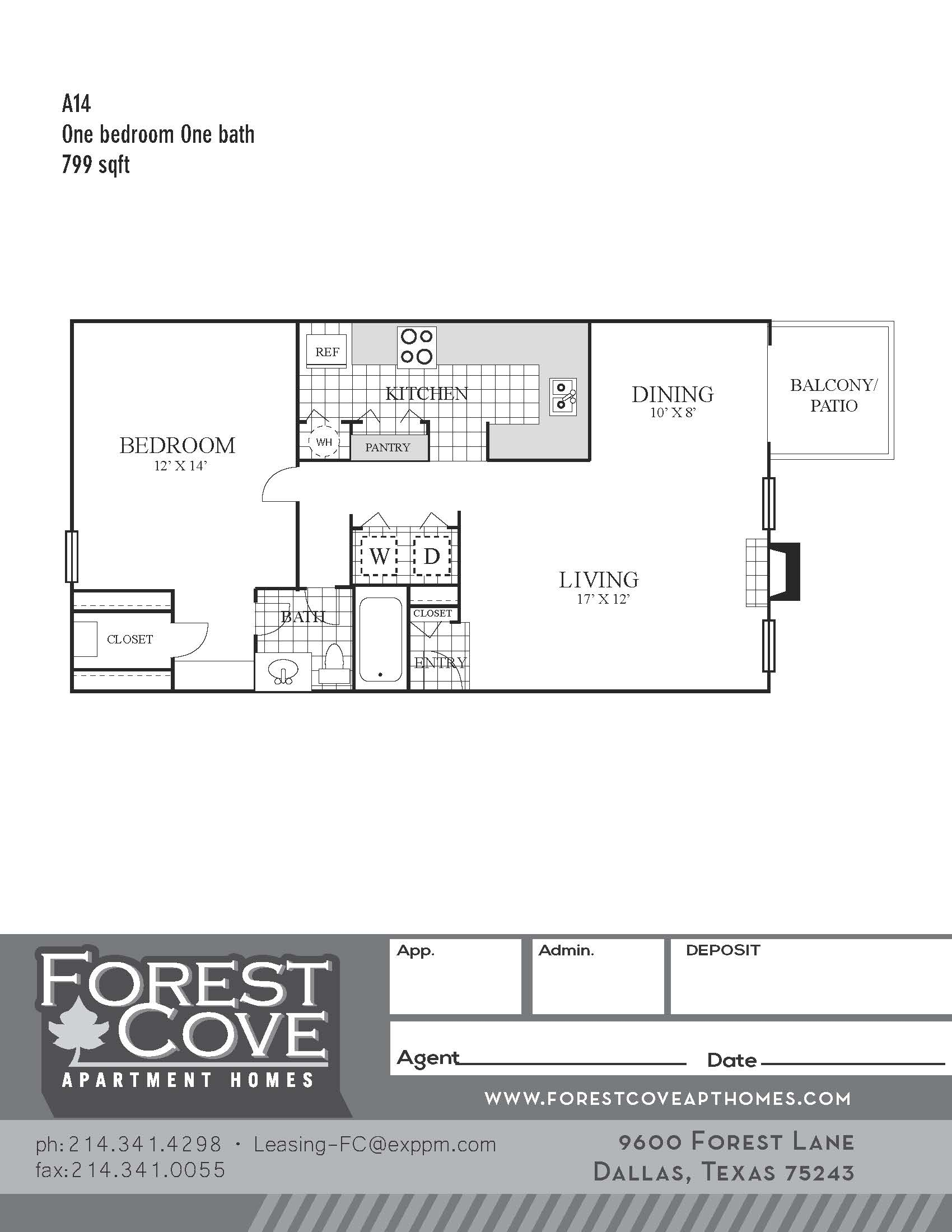 Forest Cove Apartments - Floorplan - A14
