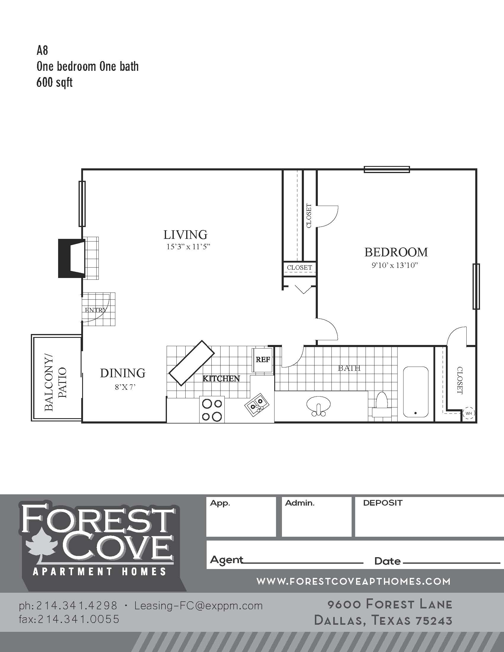 Forest Cove Apartments - Floorplan - A8