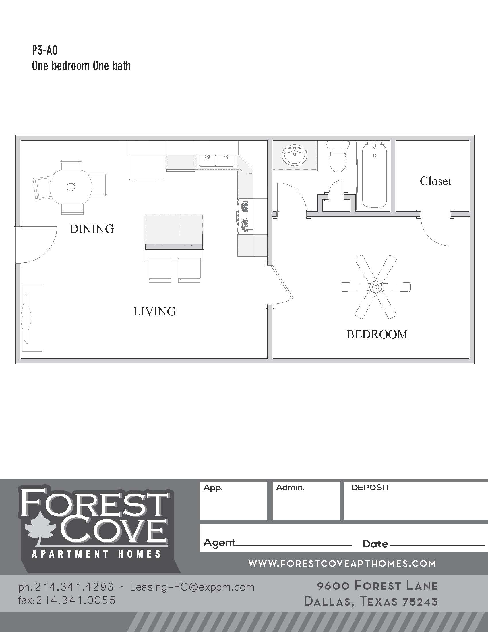 Forest Cove Apartments - Floorplan - 3-A0
