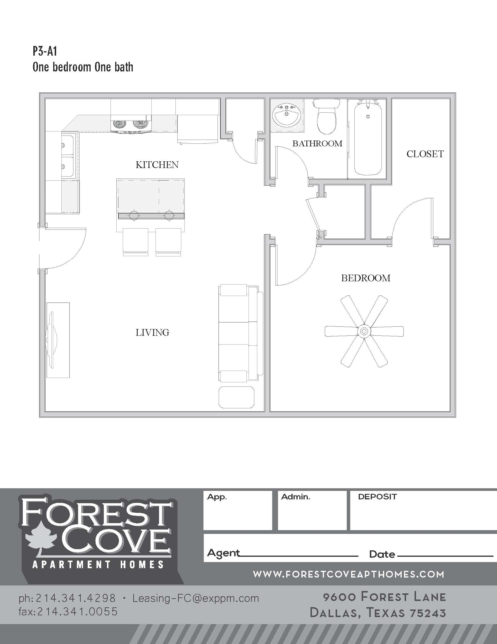 Forest Cove Apartments - Floorplan - 3-A1