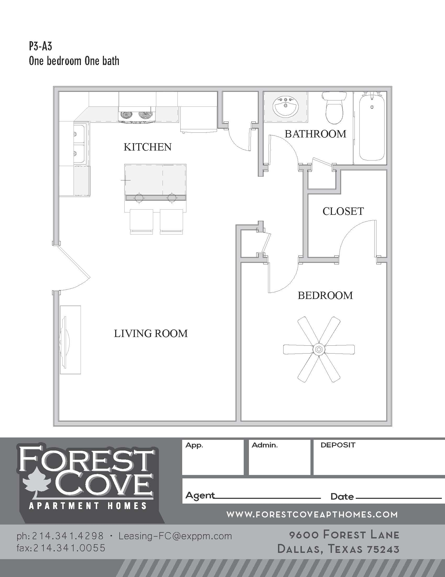 Forest Cove Apartments - Floorplan - 3-A3