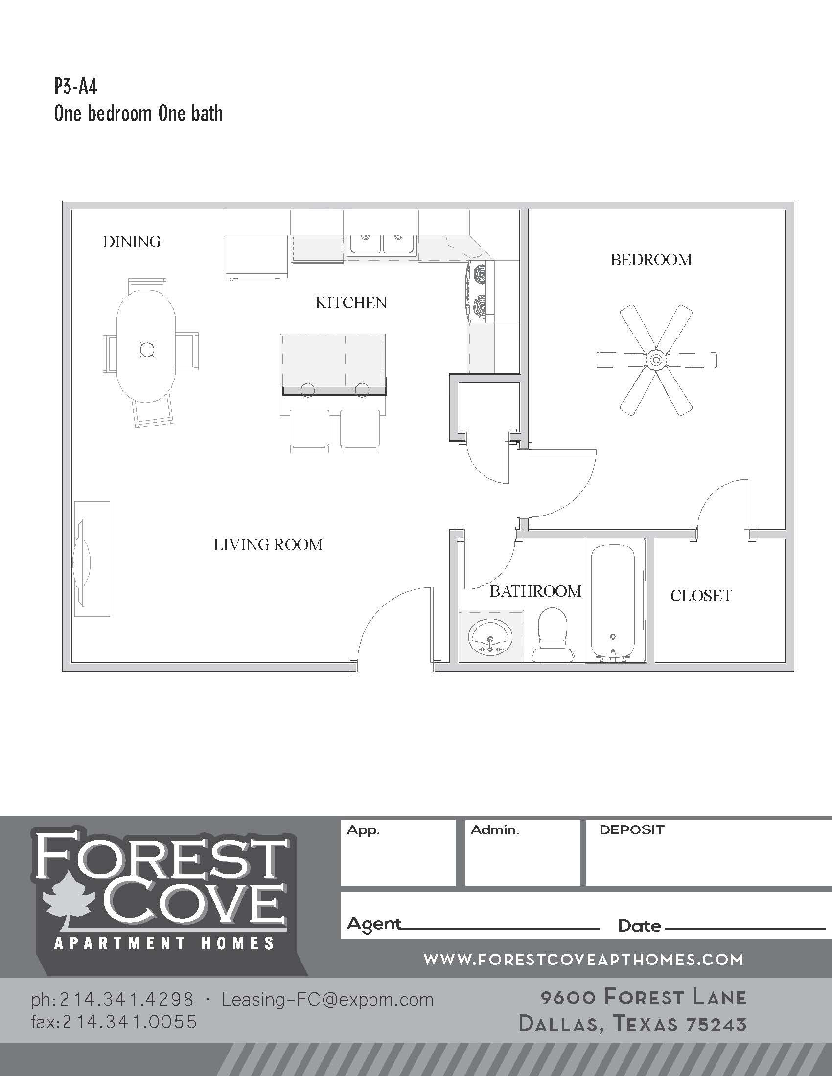 Forest Cove Apartments - Floorplan - 3-A4