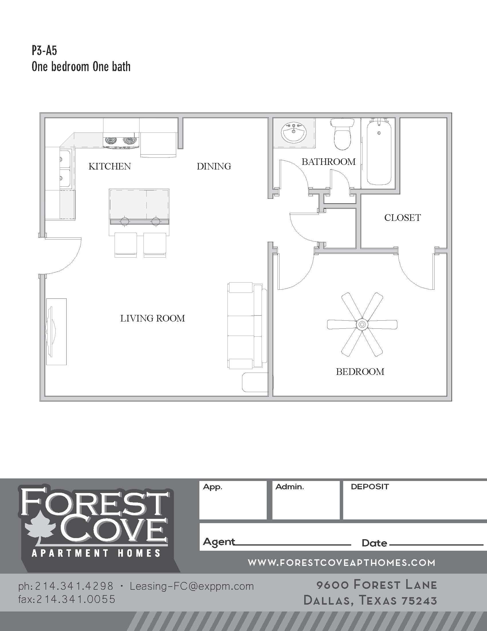 Forest Cove Apartments - Floorplan - 3-A5