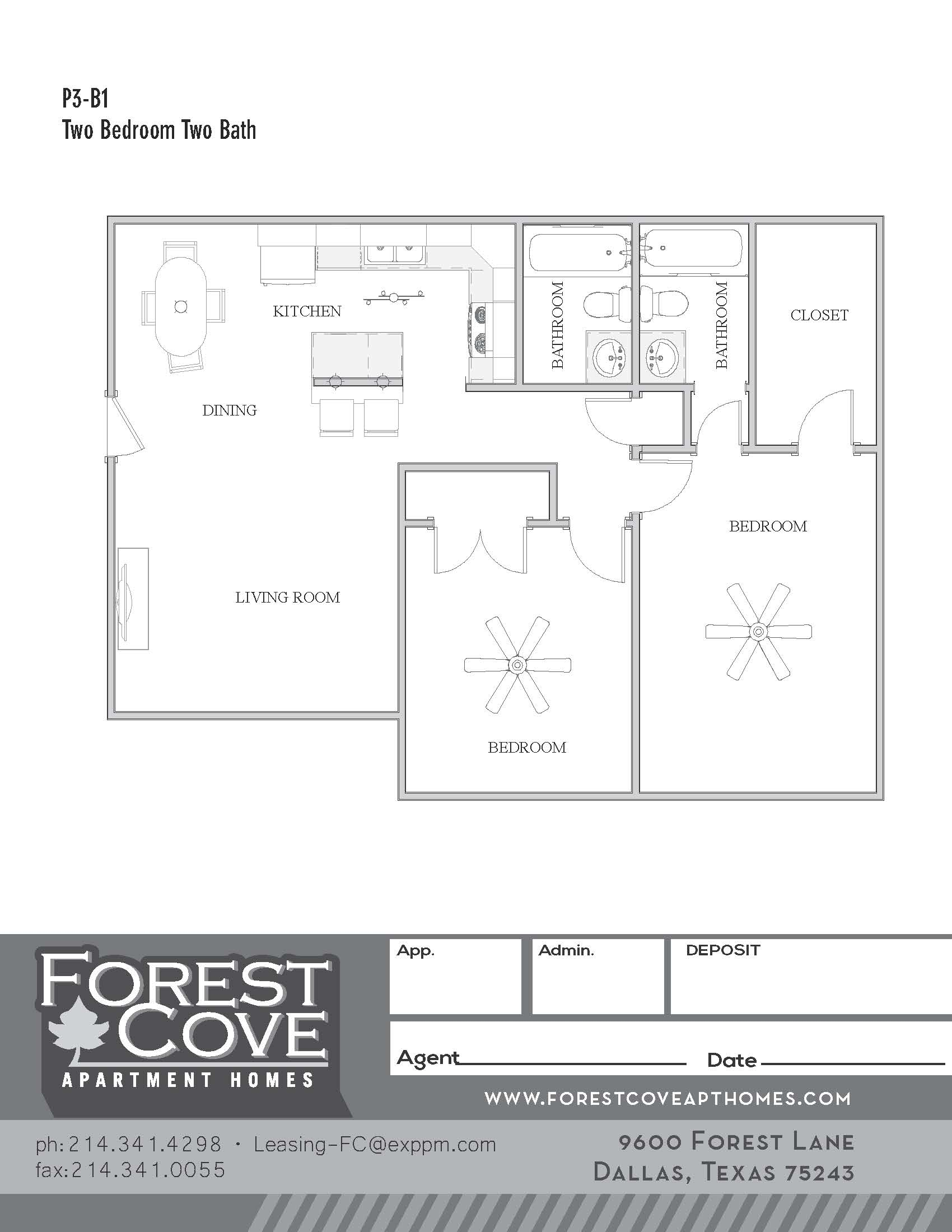 Forest Cove Apartments - Floorplan - 3-B1