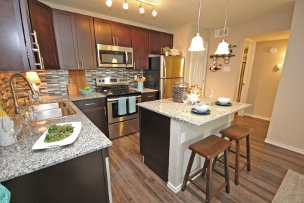 Kitchen Island with Granite Countertops at Forest Cove Apartments in Dallas, Texas