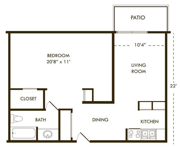 Floorplan - One Bedroom B image