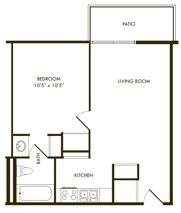 Floorplan - One Bedroom A image