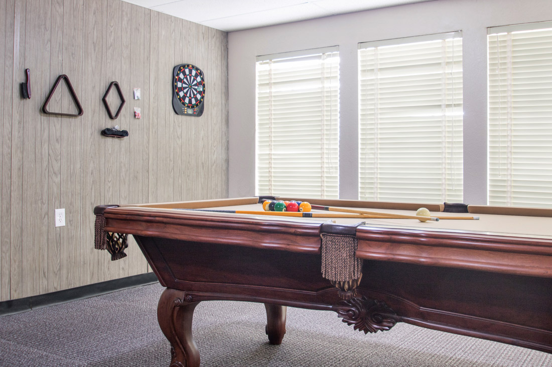 Game Room with Pool Table at Forest Dale Apartments in Dallas, Texas