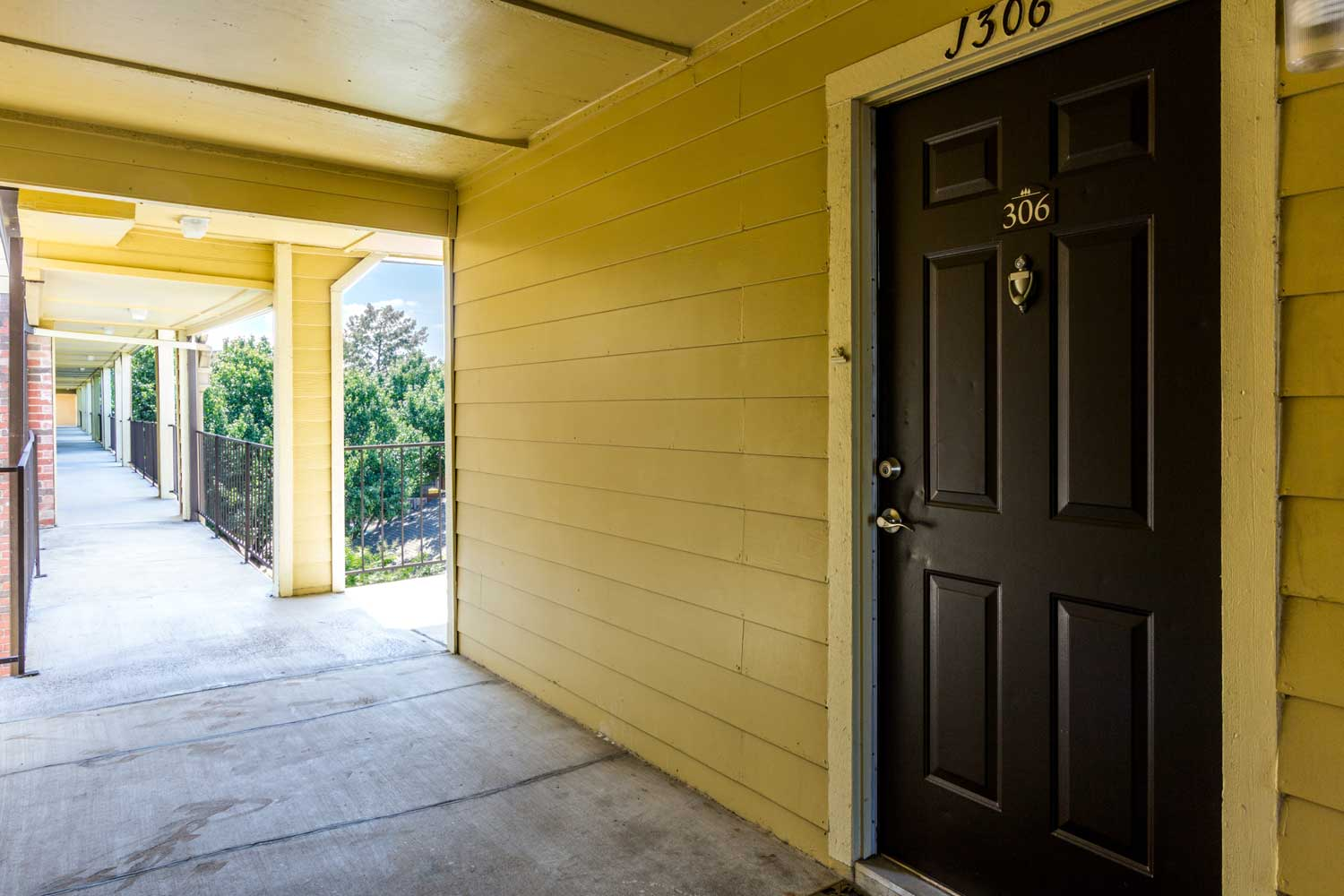 Front Door with Overhang at Forest Hills Apartments in Dallas, TX