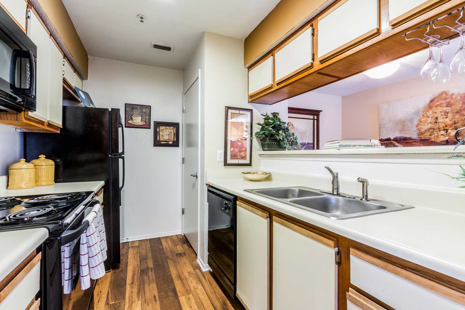 All Black Kitchen Appliances at Forest Hills Apartments in Dallas, TX