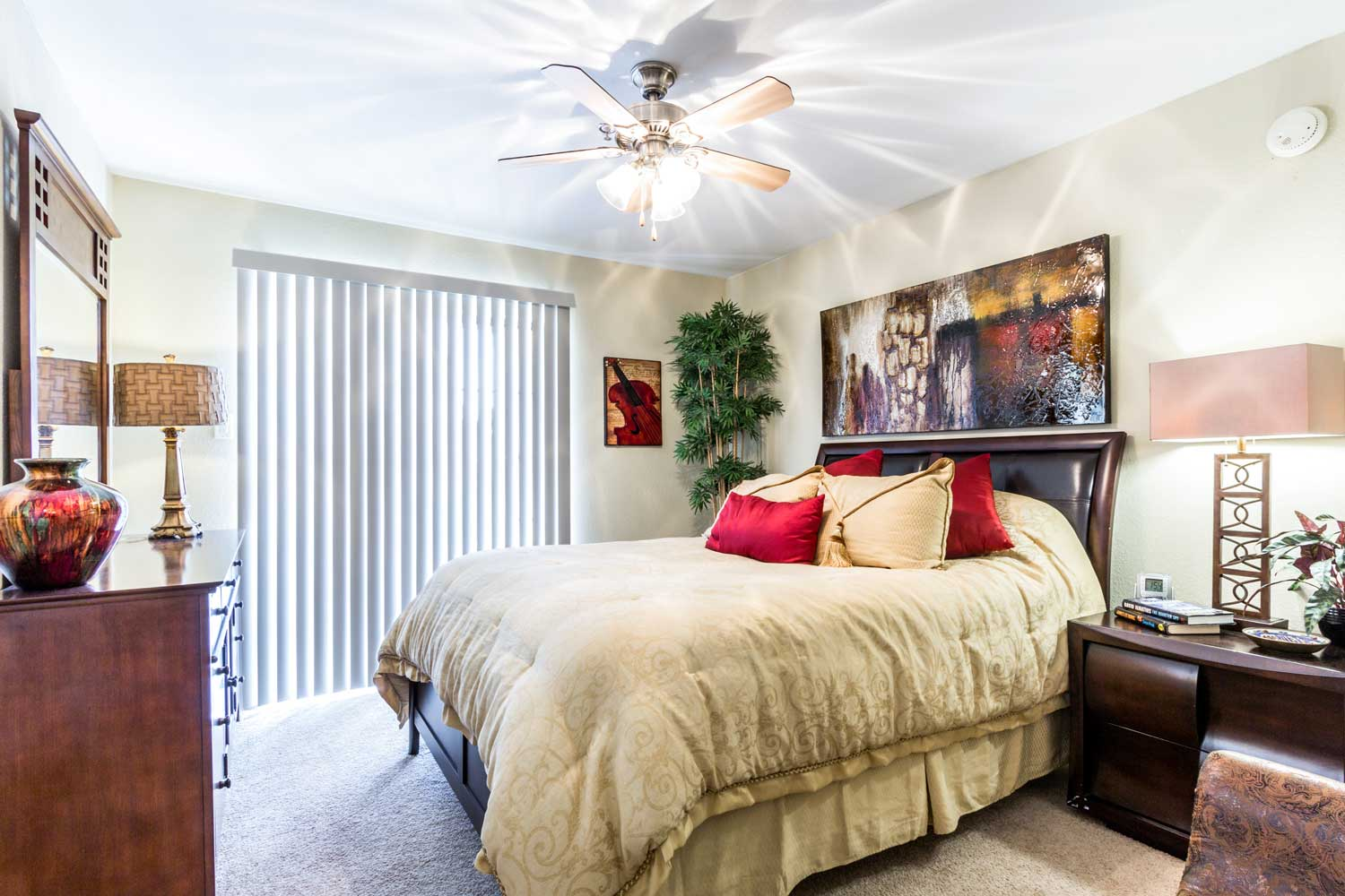 Bedrooms with Ceiling Fans at Forest Hills Apartments in Dallas, TX