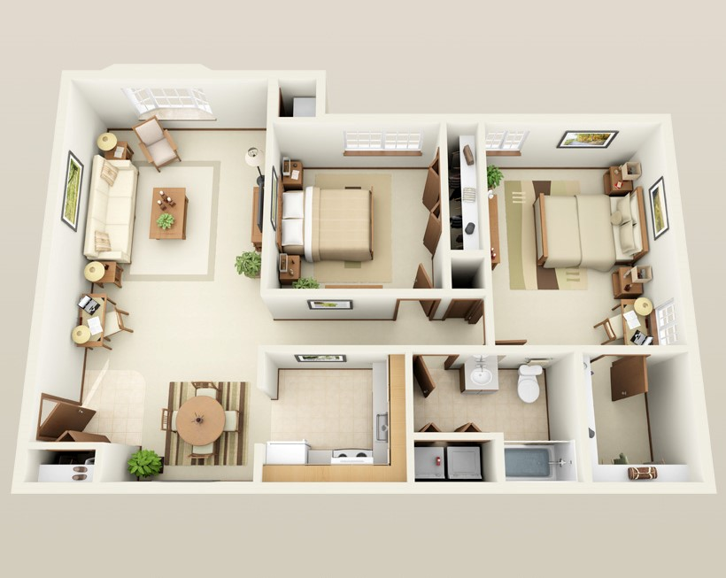 Forest Meadows Apartments - Floorplan - 2 bed 1 bath