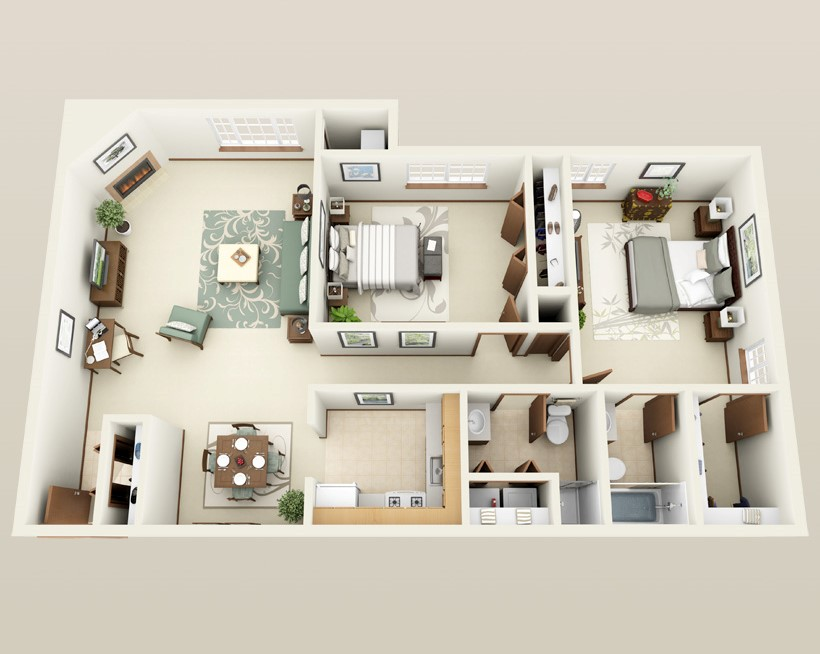 Forest Meadows Apartments - Floorplan - 2 bed 2 bath