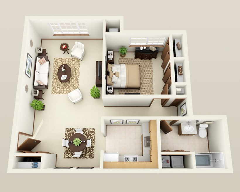 Forest Meadows Apartments - Floorplan - 1 bed 1 bath