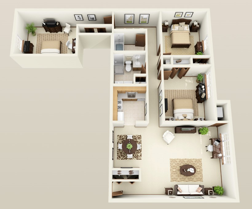 Forest Meadows Apartments - Floorplan - 3 bed 2 bath