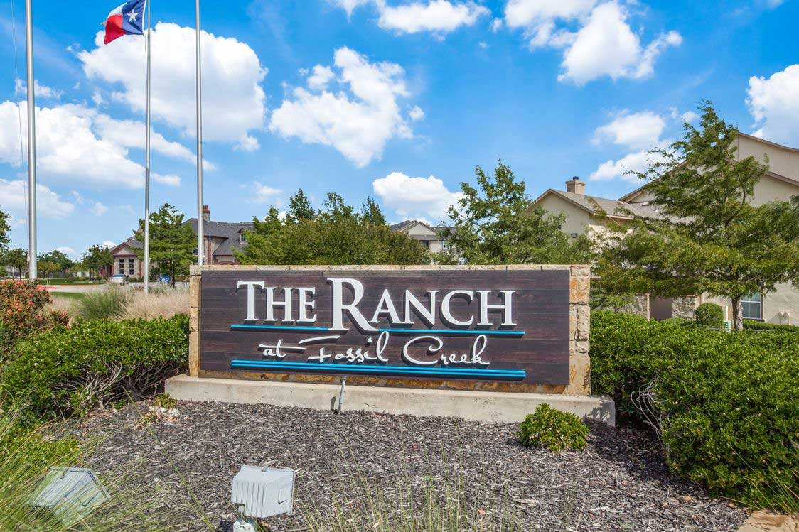 Welcome Signage at The Ranch at Fossil Creek Apartments in Haltom City, TX