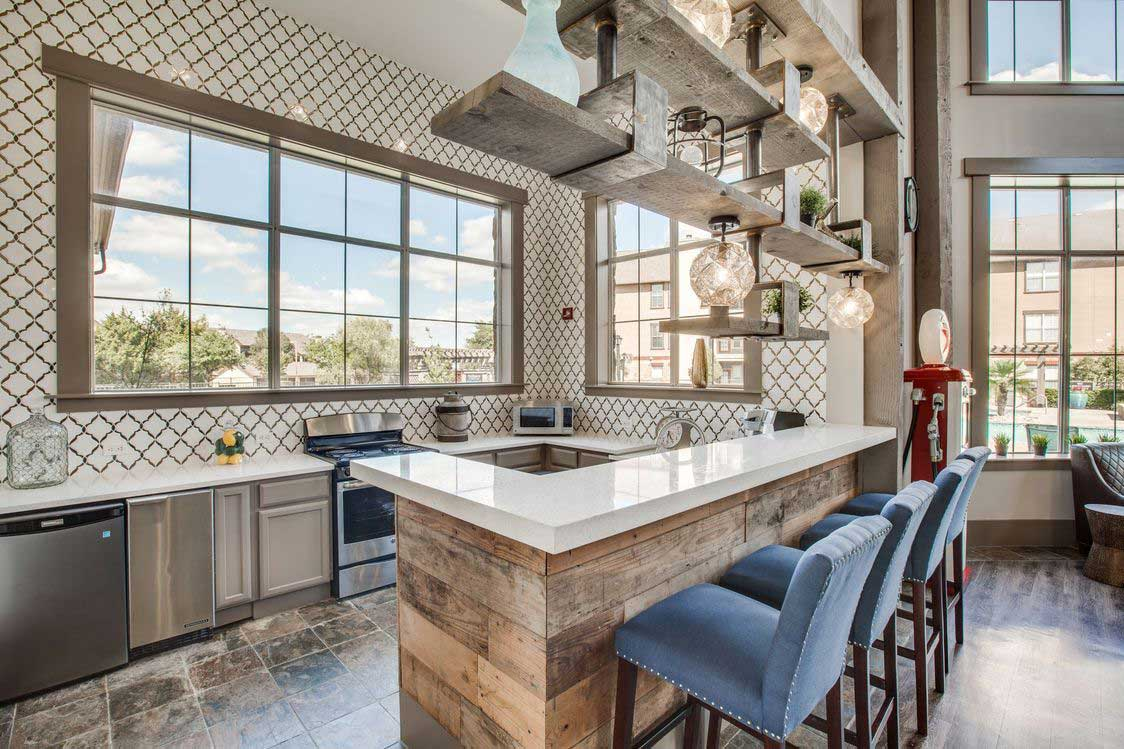 Party-Ready Community Kitchen at The Ranch at Fossil Creek Apartments in Haltom City, TX