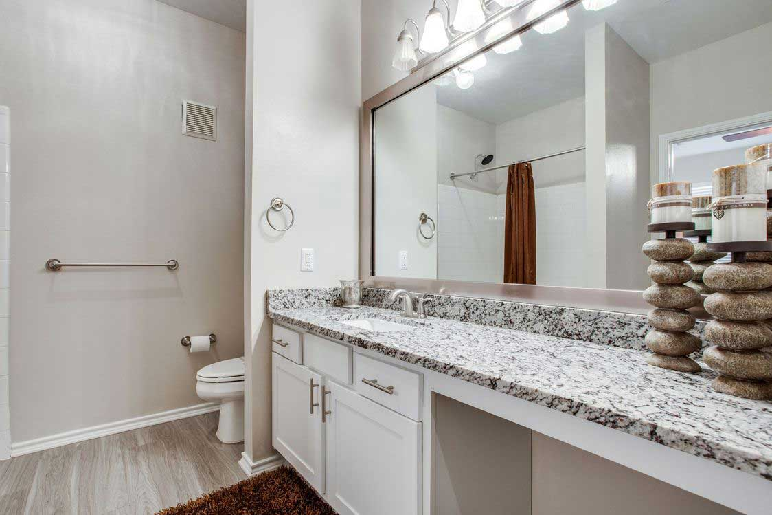 Large Vanities at The Ranch at Fossil Creek Apartments in Haltom City, TX