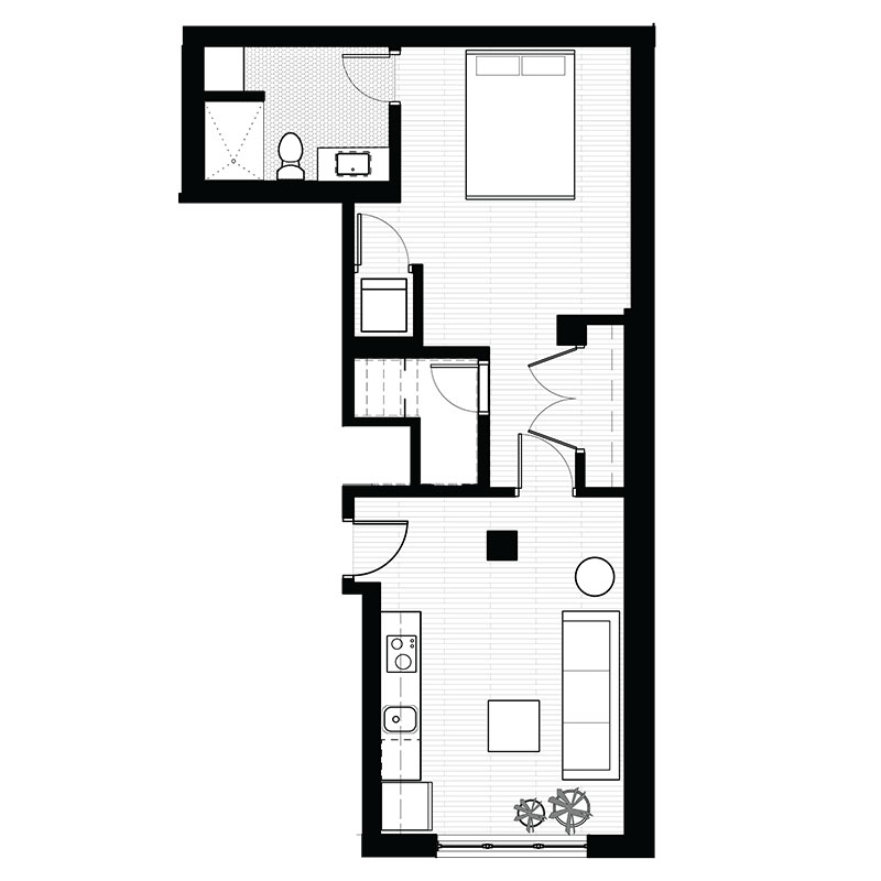 Freiden Building - Floorplan - 1 Bedroom - A