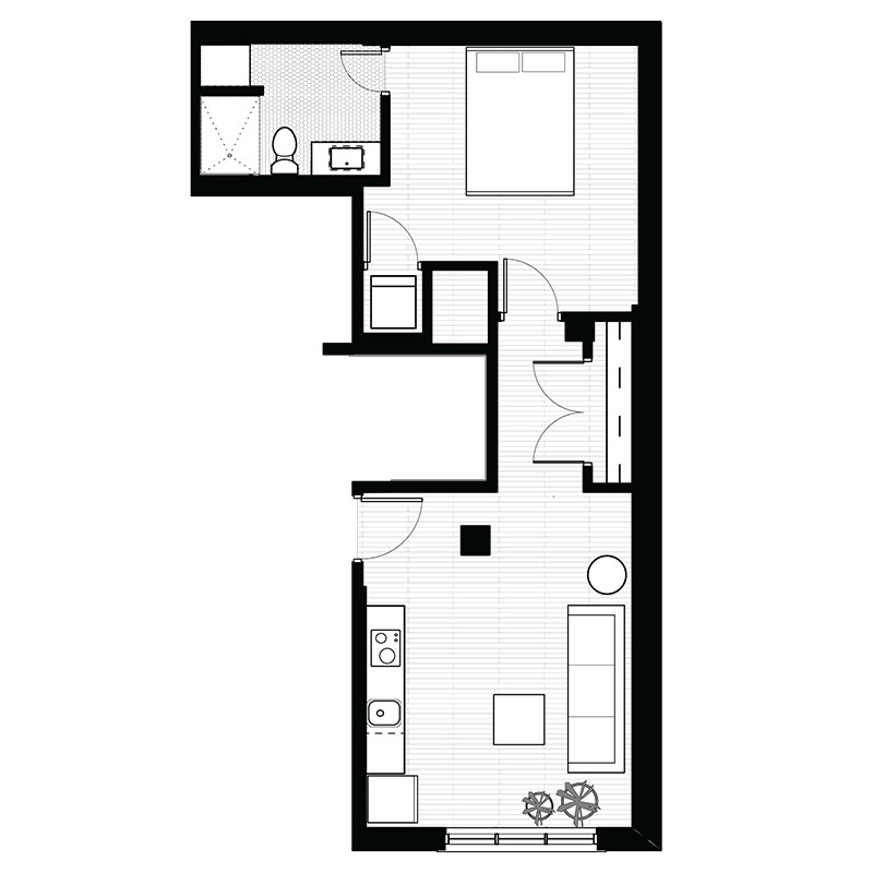 Floorplan - 1 Bedroom - B image