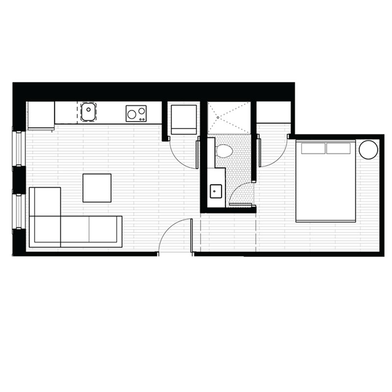 Floorplan - 1 Bedroom - C image