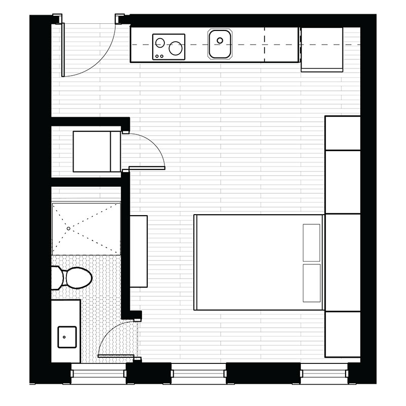 Freiden Building - Floorplan - Studio - E