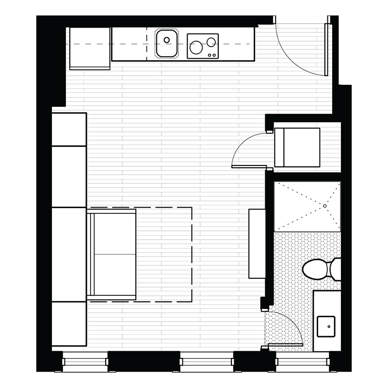 Freiden Building - Floorplan - Studio - F