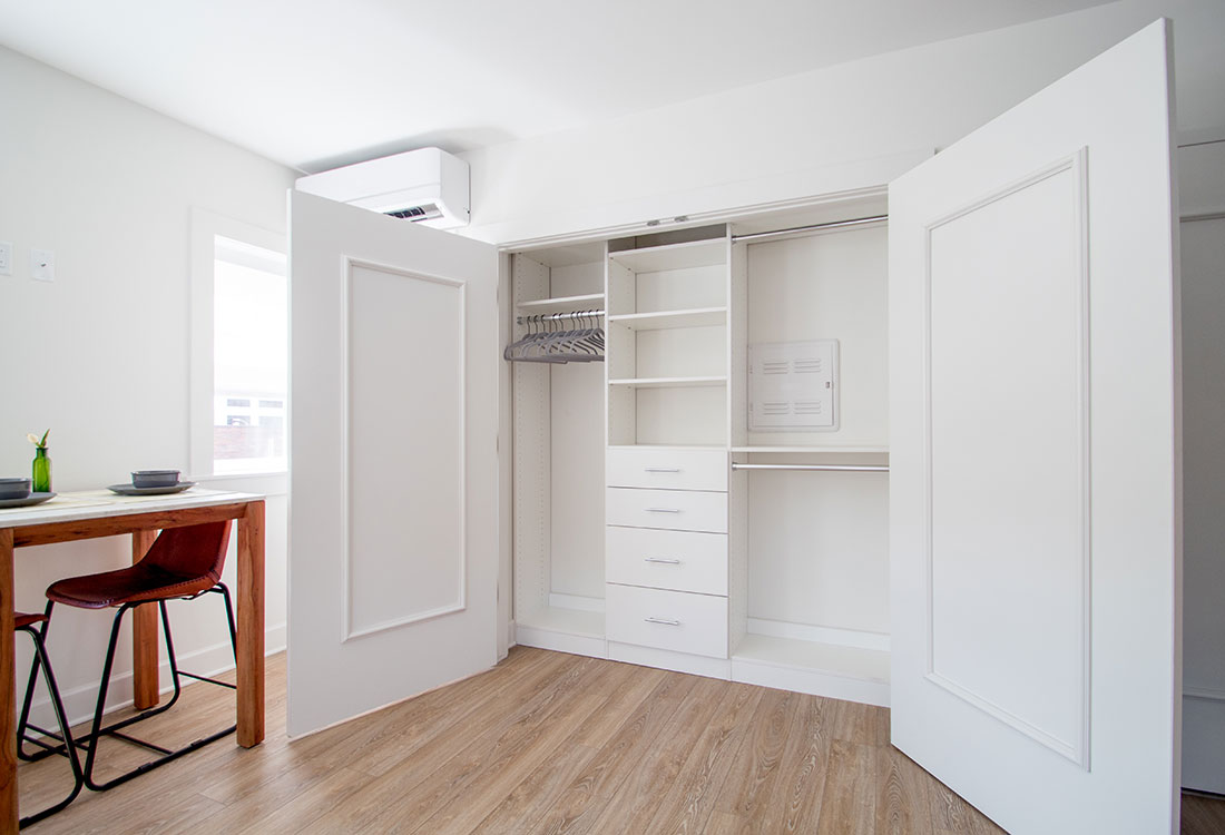 Closets with Ample, Functional Storage at Freiden Building Apartments in Omaha, Nebraska