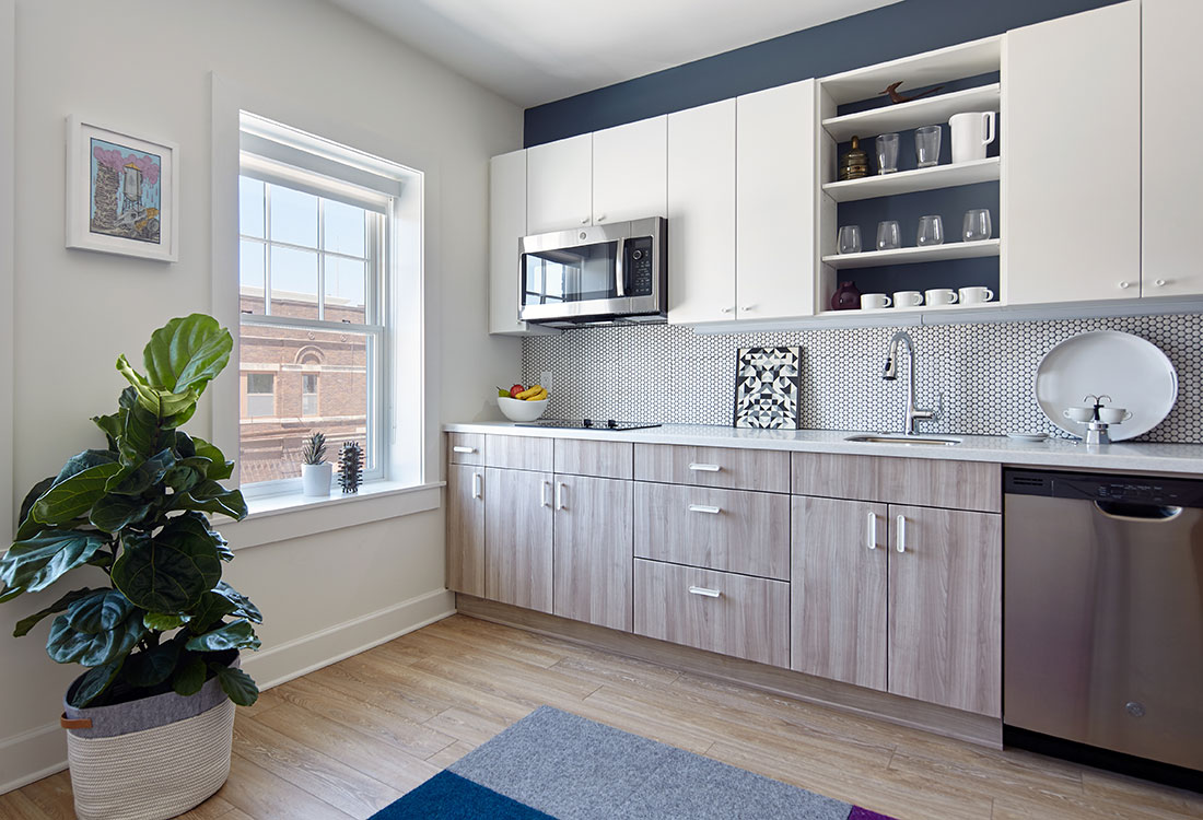 Micro-Studio Apartments with Stainless Kitchens at Freiden Building Apartments in Omaha, Nebraska